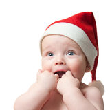 Portrait of baby boy in christmas hat Royalty Free Stock Image