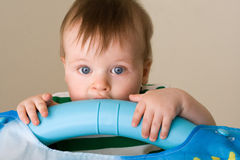 Portrait Of Baby Boy Crawling Stock Photo