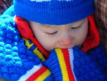 Portrait of Baby Boy In Vivid Bold Colors. Portrait of a baby boy dressed in vivid, bold colors; Spring 2018; New Jersey royalty free stock photos