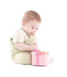 Portrait of baby boy with pink gift box Royalty Free Stock Photography
