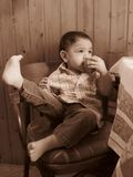 Portrait of a baby boy in sepia Royalty Free Stock Image