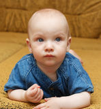 Portrait of the baby boy. Portrait of the baby boy on sofa Stock Photos