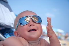 Portrait of baby boy with sunglasses Stock Photography