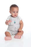 Portrait of a Baby Boy Wearing Overalls with Sailboat Decal Stock Images
