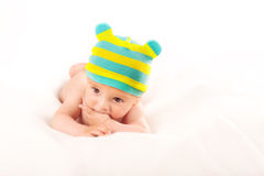 Portrait of baby boy on white background stock images