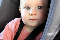 Portrait of a baby in a car seat royalty free stock photos