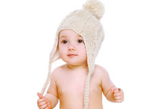 Portrait baby in comfort knitted hat Stock Image