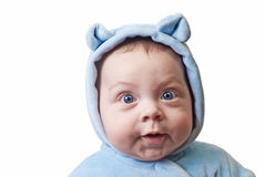 Portrait of a baby in a fun hood with ears Royalty Free Stock Photo