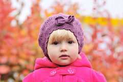 Portrait of baby girl. In fall time Stock Images