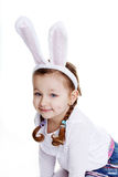 Portrait of baby girl with bunny ears Stock Photo