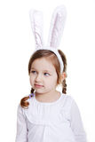 Portrait of baby girl with bunny ears Stock Images
