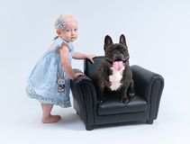 Portrait of the baby girl and the dog stock photos