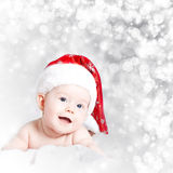 Portrait of a baby girl with Santa hat Royalty Free Stock Photo
