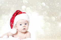 Portrait of a baby girl with Santa hat Royalty Free Stock Photography
