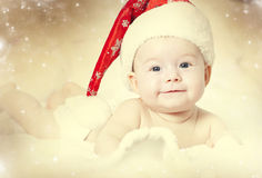 Portrait of a baby girl with Santa hat Royalty Free Stock Image