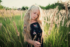 Portrait of a baby girl spinning in a field in sunset light Stock Photos