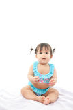 Portrait baby girl in swimsuit Royalty Free Stock Photos