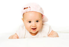 Portrait baby girl wearing pink hat Stock Images