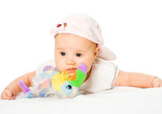 Portrait baby girl wearing pink hat Royalty Free Stock Photos