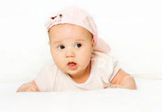 Portrait baby girl wearing pink hat Stock Photography