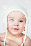 Portrait of a baby in a hat with ears Royalty Free Stock Photos