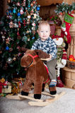 Portrait of Baby on horse (toy) little boy Royalty Free Stock Photography