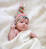 Portrait of a baby in knitting hat Royalty Free Stock Images