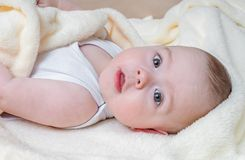 Portrait of baby lying down. Child care concept.  Stock Photography