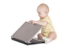 Portrait baby with notebook Royalty Free Stock Image