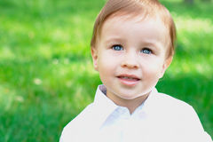 Portrait of a baby outdoors with copy space Stock Photos