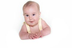 Portrait of baby over white. Studio portrait of cute baby over white Stock Image