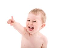 Portrait of baby pointing by finger Royalty Free Stock Image