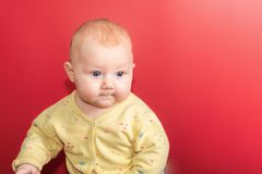Portrait of a baby on a red background, newborn girl close-up in the studio stock image