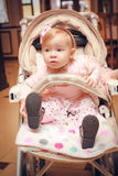 Baby in sitting stroller Royalty Free Stock Photography