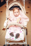 Baby in sitting stroller Royalty Free Stock Photo