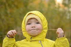 Portrait of a baby with a straw Stock Images