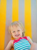 Portrait of baby with sun block creme on nose Royalty Free Stock Image