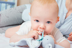 Portrait of a baby with a toy in the mouth. Blue eyes of a child Stock Image