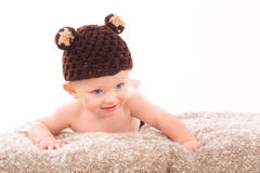 Portrait of baby on white background Royalty Free Stock Image