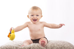 Portrait of baby on white background Stock Photo