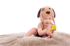 Portrait of baby on white background royalty free stock photo