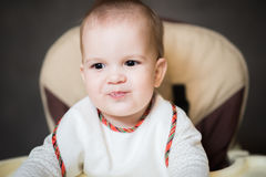 Portrait of a baby who ate porridge Royalty Free Stock Images