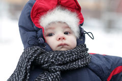 Portrait of baby in winter Stock Image