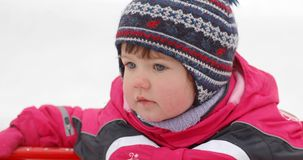 Portrait of baby in winter time Royalty Free Stock Photography