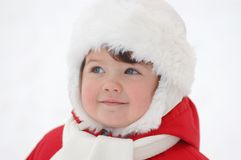 Portrait of baby in winter time Royalty Free Stock Images