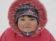 Portrait of baby in winter time Royalty Free Stock Photo