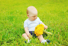 Portrait of baby with yellow dandelion flowers s. Itting on the grass in sunny summer day Stock Image