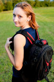 Portrait of backpacker Stock Photos
