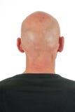 Portrait backside bald man. Bald man at backside on white background Stock Images