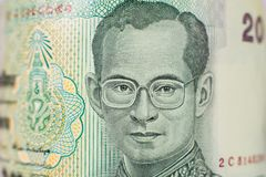 Portrait on 20 Baht bill from Thailand royalty free stock images